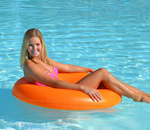"""Airhead Designer Series Seat Ring - Tangerine Brand New Includes One Year Warranty, The Airhead Designer Series Seat Ring is an inflatable water tube that features an integrated air filled seat / backrest"