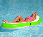 """""""Airhead Designer Series Chaise Lounge - Lime Brand New Includes One Year Warranty, The Airhead Designer Series Chaise Lounge has heavy duty PVC construction for long service and features full length mesh seating for extra comfort"""